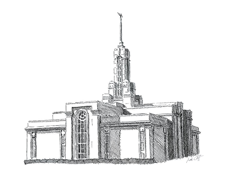 Mount Timpanogos Lds Temple Ink Drawing Drawing by DSC Arts