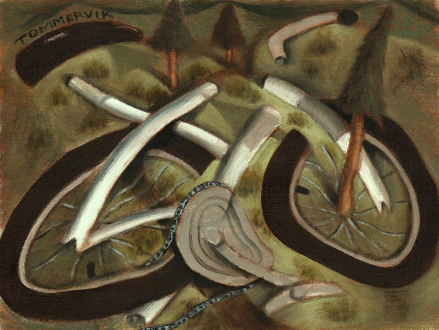 Mountain Bike Painting - Tommervik Abstract Mountain Bike Art Print by Tommervik