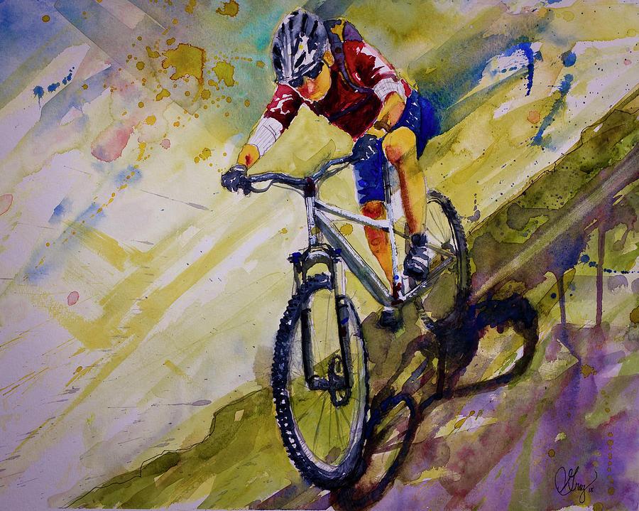 Mountain Biking Painting