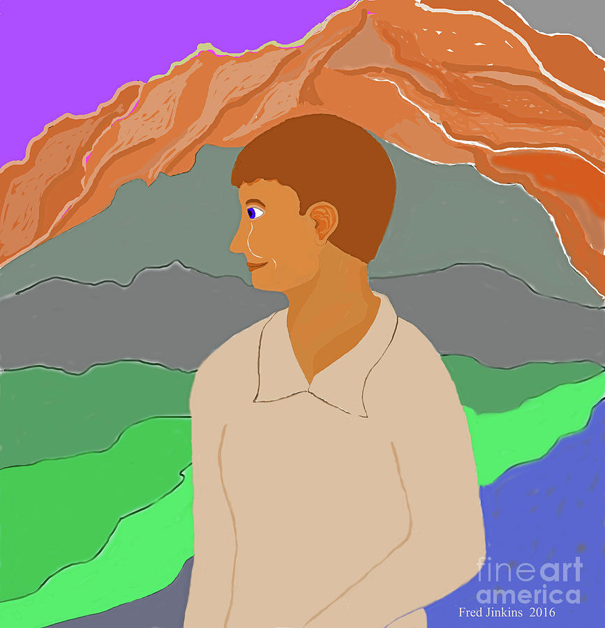 Boy Painting - Mountain Boy by Fred Jinkins