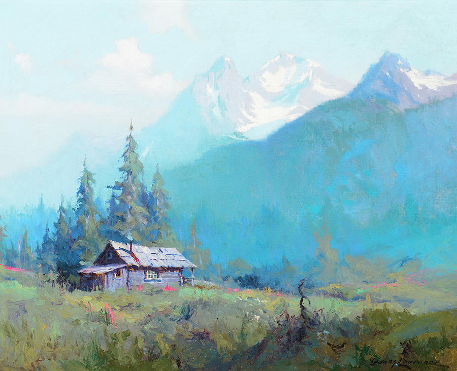 Mountain Cabin Alaska Painting By Sydney Mortimer Laurence