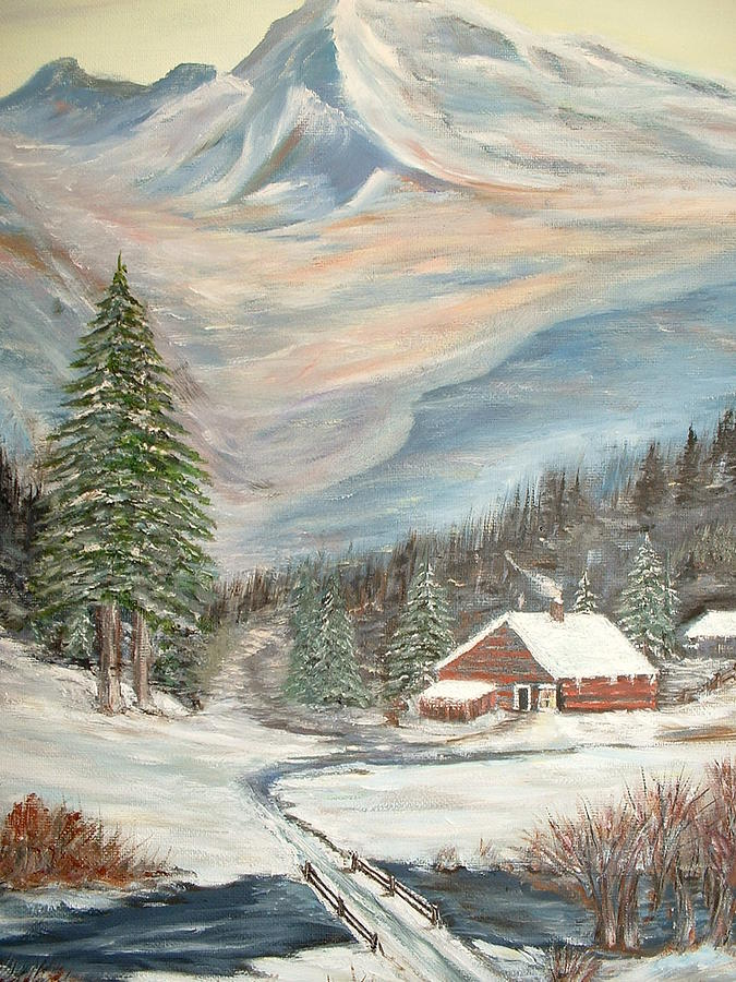 Mountain Cabin Painting by Kenneth LePoidevin