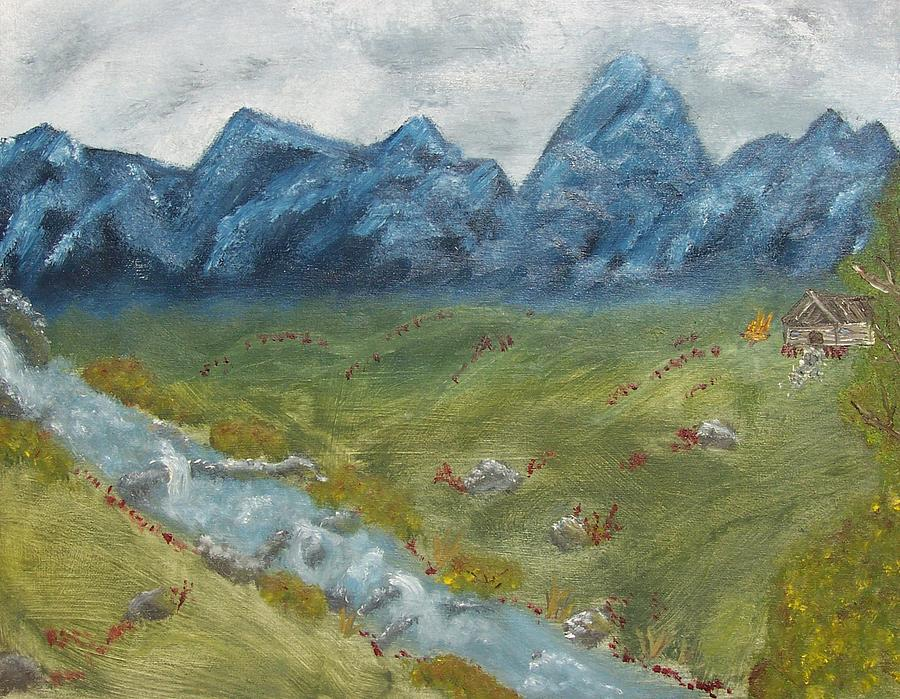 Nature Painting - Mountain Cabin by Leiah Mccormick