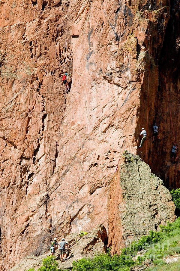 Mountain Climbers In Garden Of The Gods And Pikes Peak Photograph