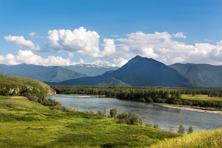 River Photograph - Mountain Filaretka Over Katun River. Altay by Victor Kovchin