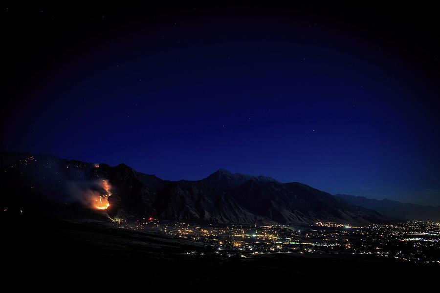 Mountain Photograph - Mountain Fire at Night by Dan Pearce