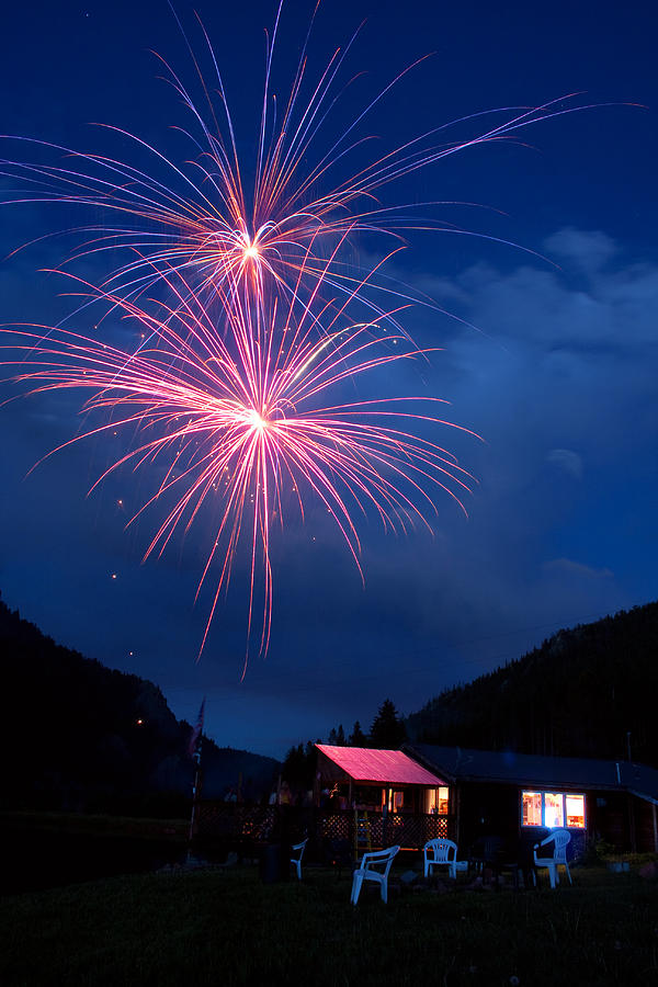 Fireworks Photograph - Mountain Fireworks Landscape by James BO  Insogna