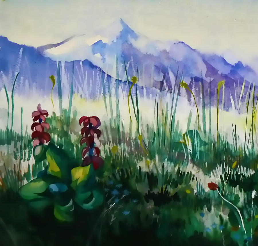 Mountains Painting - Mountain Flowers by Anastasia Michaels