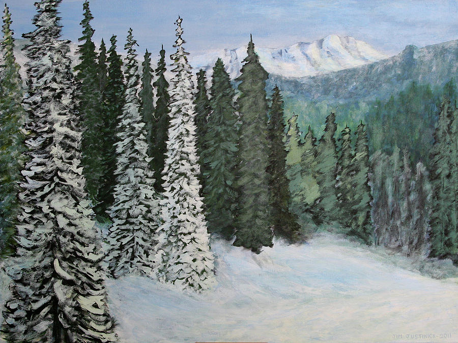 Snow Painting - Mountain Foothills by Jim Justinick