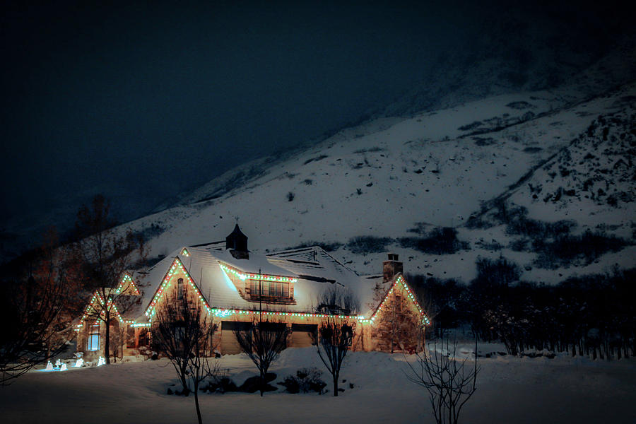 Mountains Photograph - Mountain Home with Christmas Lights - Winter at Night by Dan Pearce