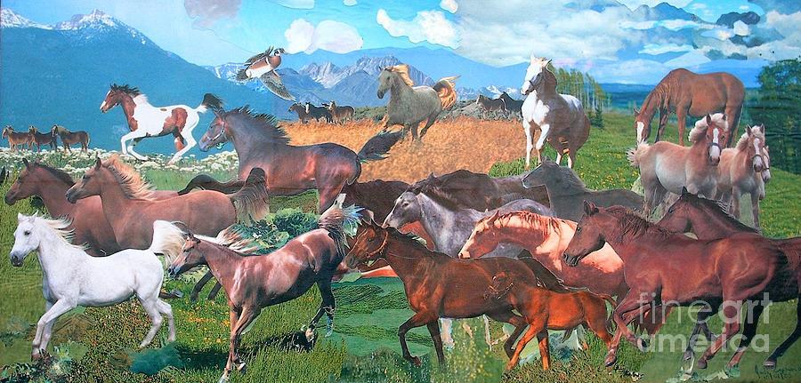 Running Horses Mixed Media - Mountain Horses by Judith Espinoza