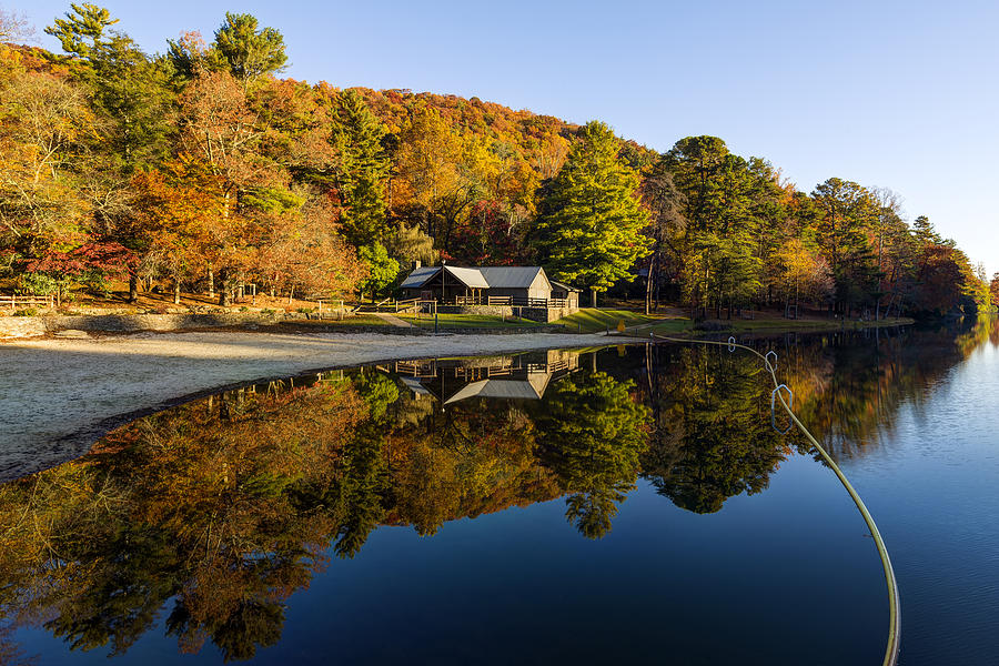 Blairsville Photograph - Mountain Lake Beach With Fall Color Reflections by Steve Samples