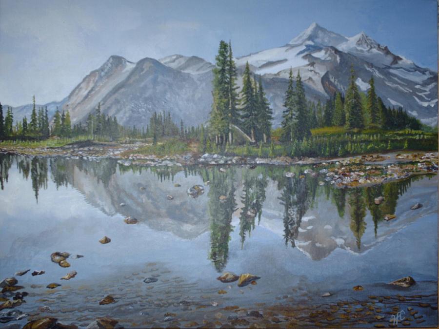 Mountain Lake Painting by Harvey Copeland