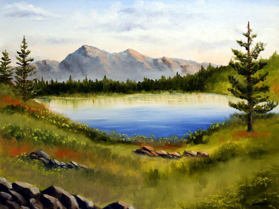 mountain lake landscape oil painting painting by mark webster