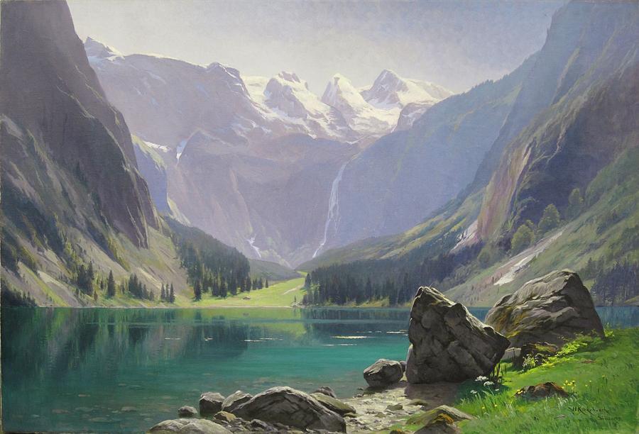 Mountain Lake Painting - Mountain Lake by MotionAge Designs