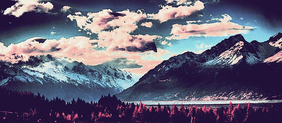 Nature Painting - Mountain  Landscape Vista by Celestial Images