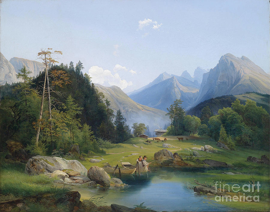 Mountain landscape with decorative figures painting by for Mountain landscape design