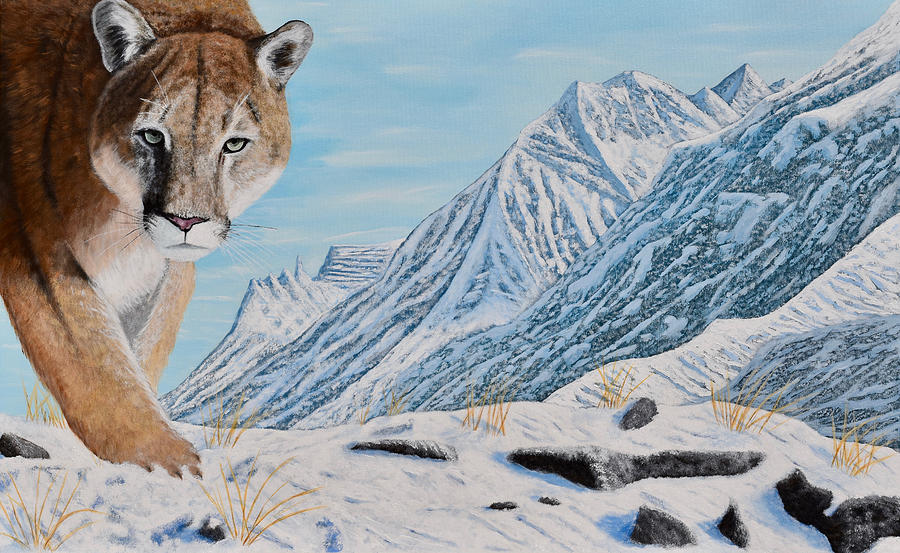 Landscape Painting - Mountain Lion in the Rockies by Brian Sloan