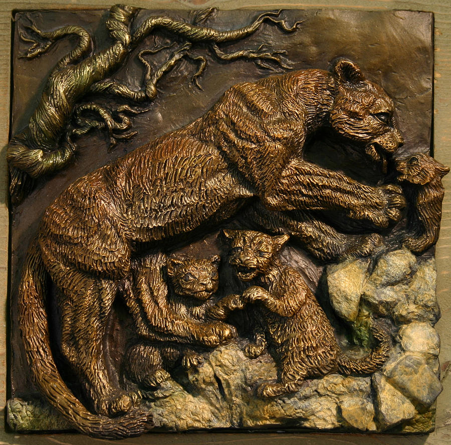 Miniature Sculpture - Mountain Lion Mother With Cubs by Dawn Senior-Trask