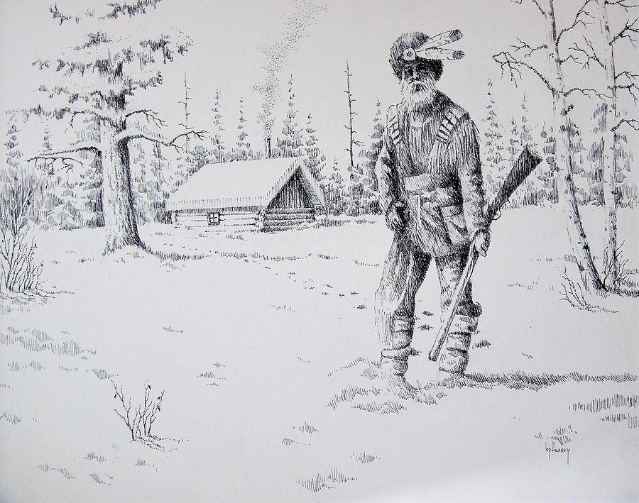 Mountain Man Drawing - Mountain Man by Kevin Heaney