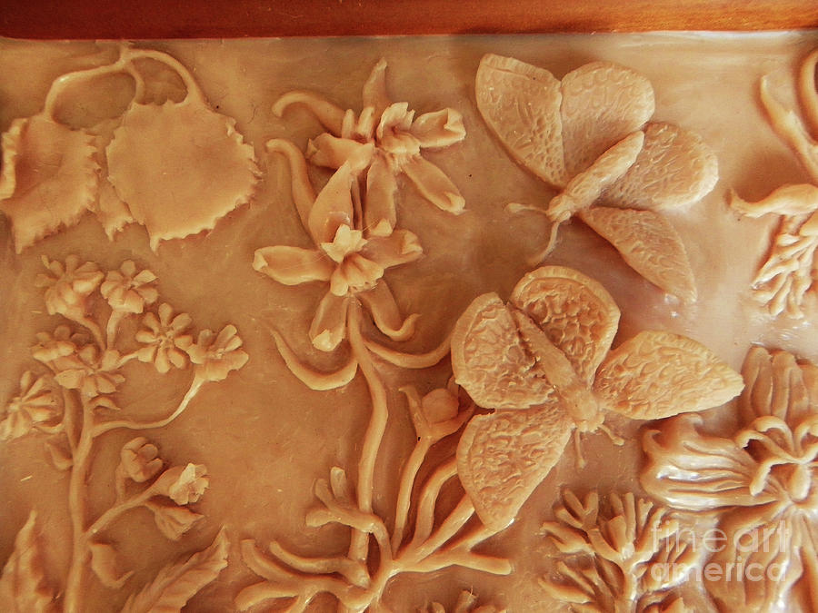 Mountain Meadow original clay relief - Checkerspot Butterfly detail by Dawn Senior-Trask