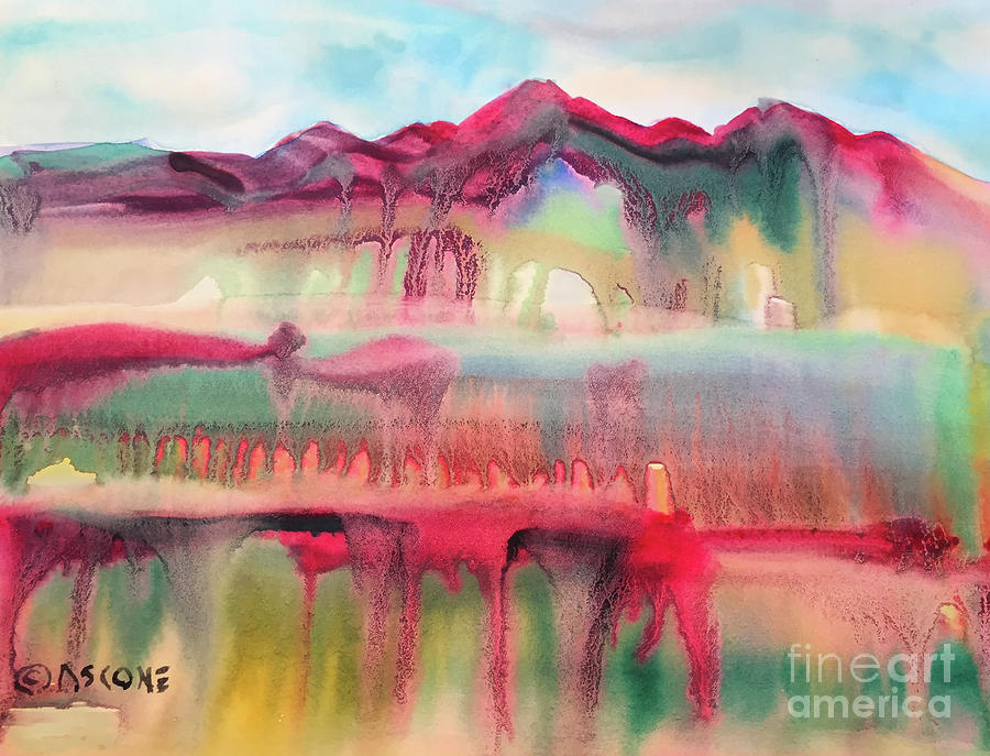 Watercolor Painting - Mountain Mirage by Teresa Ascone