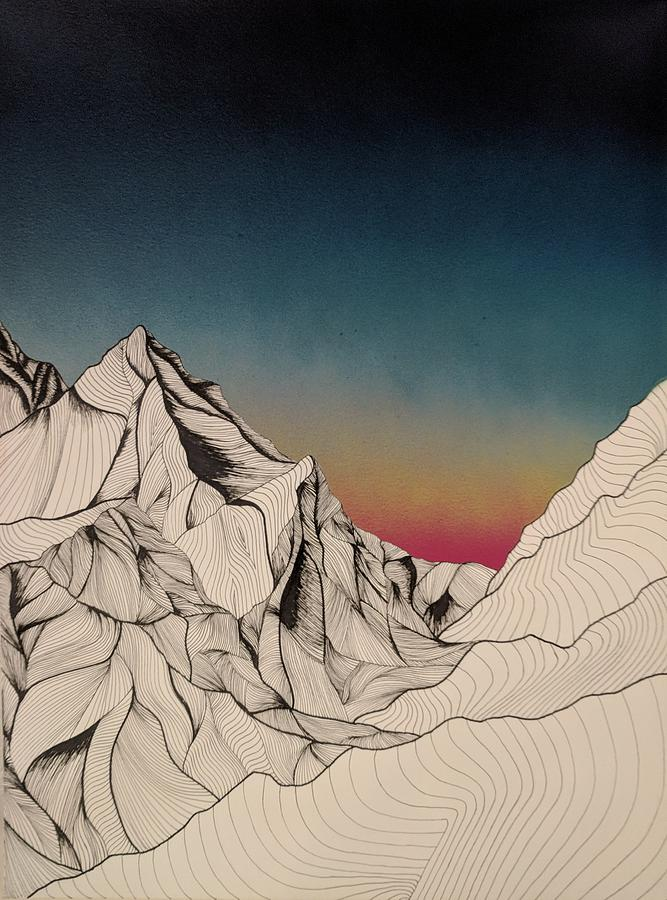 Mountain Mixed Media Drawing by Mike Bachman