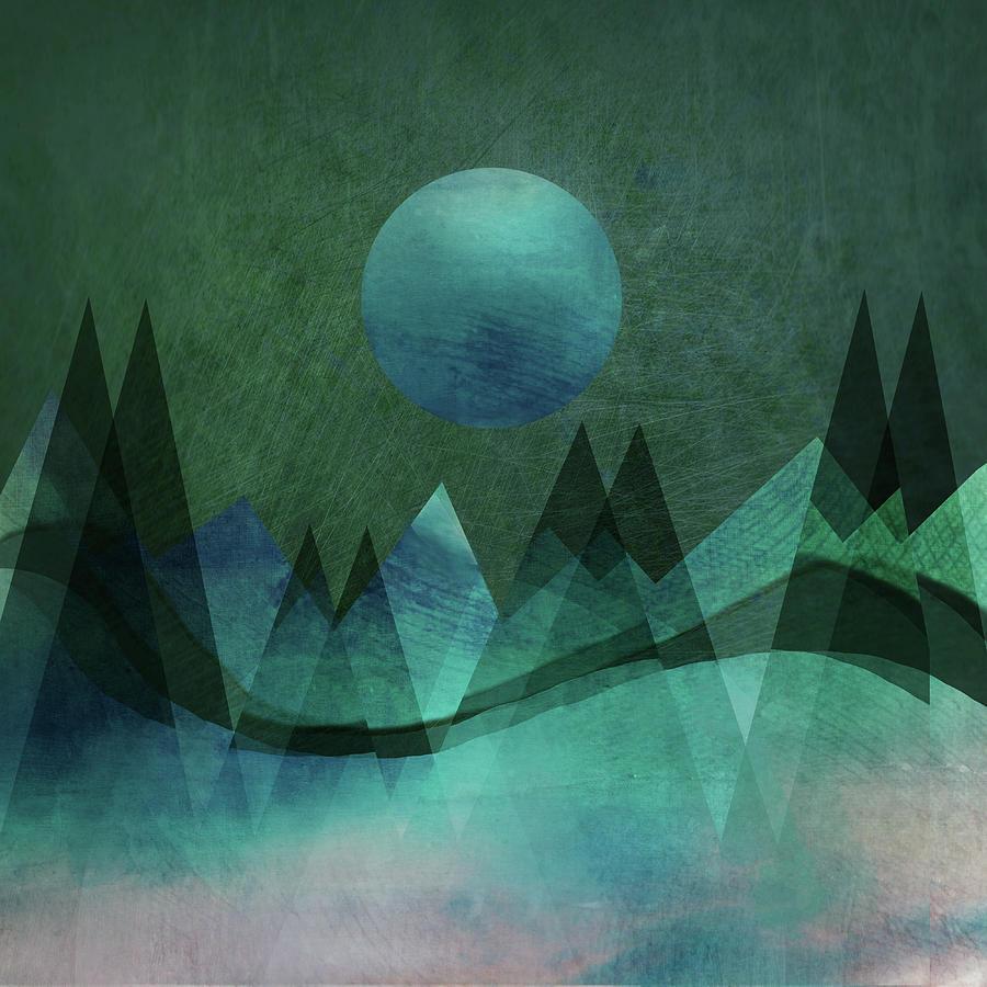 mountain moon digital artaurora art