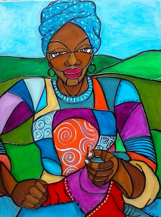 African American Woman Painting - Mountain Quilter by Jenny Pickens