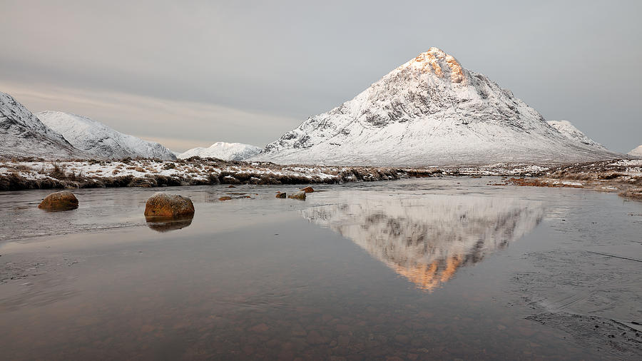Buachaille Etive Mor Photograph - Mountain Reflection on the River Etive by Grant Glendinning
