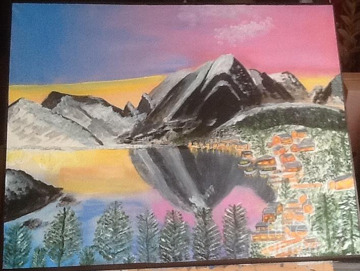 Mountain Reflections Painting by Audrey Pollitt