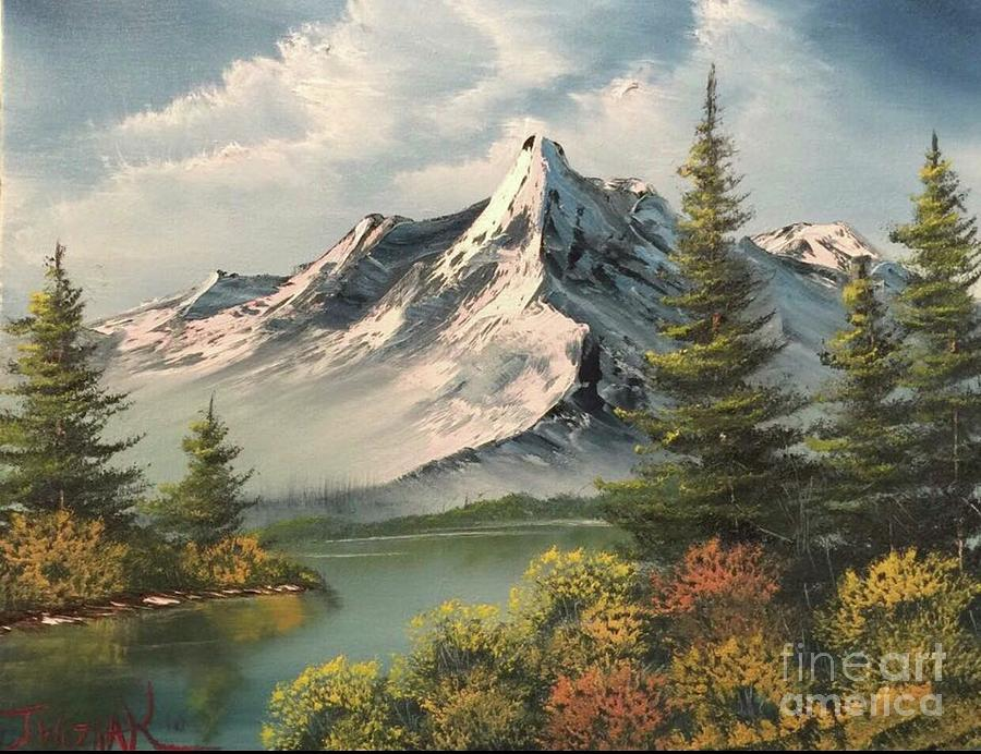Mountain Reflections  Painting by Paintings by Justin Wozniak