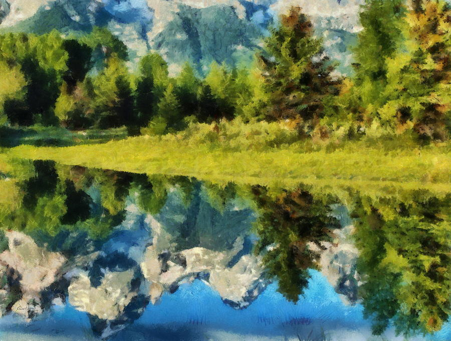 Landscape Painting - Mountain Reflections by Russ Harris