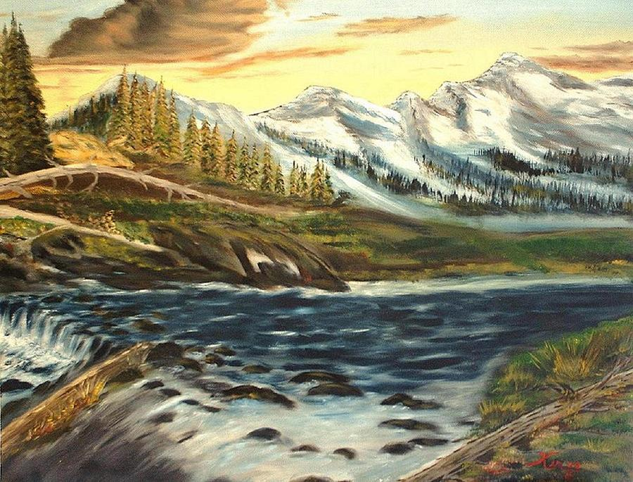 Landscape Painting - Mountain River  by Kenneth LePoidevin