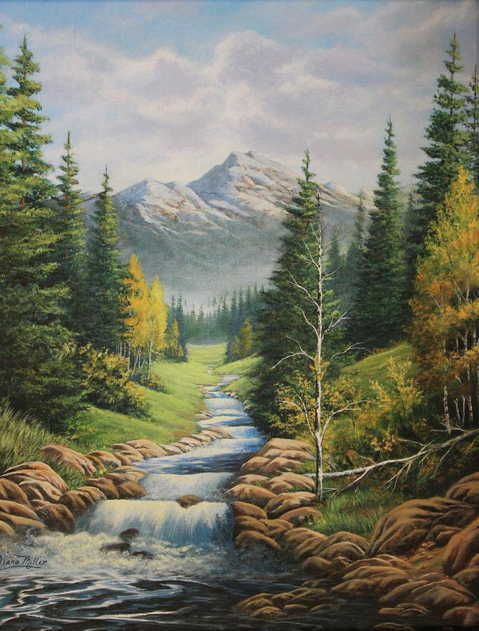 Mountain Painting - Mountain River View by Diana Miller