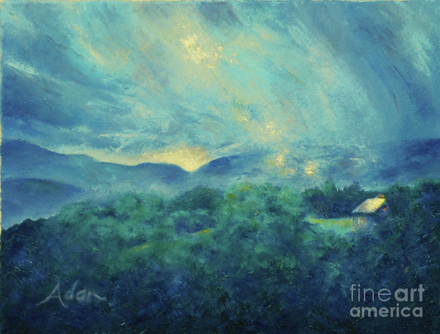 Log Cabin Painting - Mountain Road Cabin and Sunrise Stowe Vermont Painting by Felipe Adan Lerma