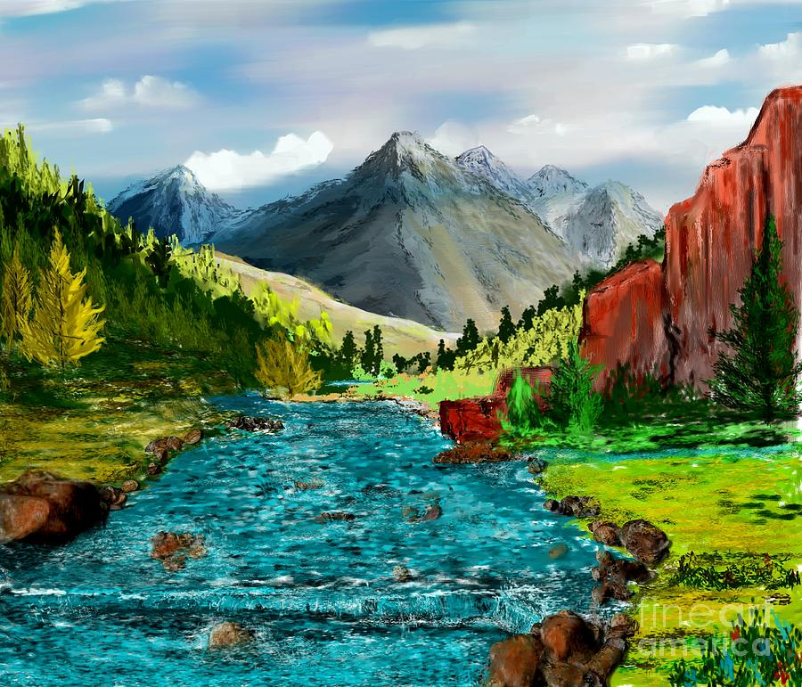 Nature Digital Art - Mountain Stream by David Lane