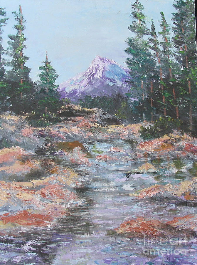 Oil Painting - Mountain Stream by Linda Rupard