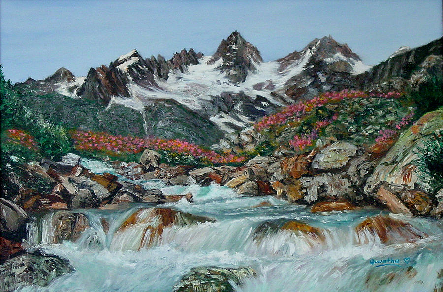 Mountain Painting - Mountain Stream by Quwatha Valentine