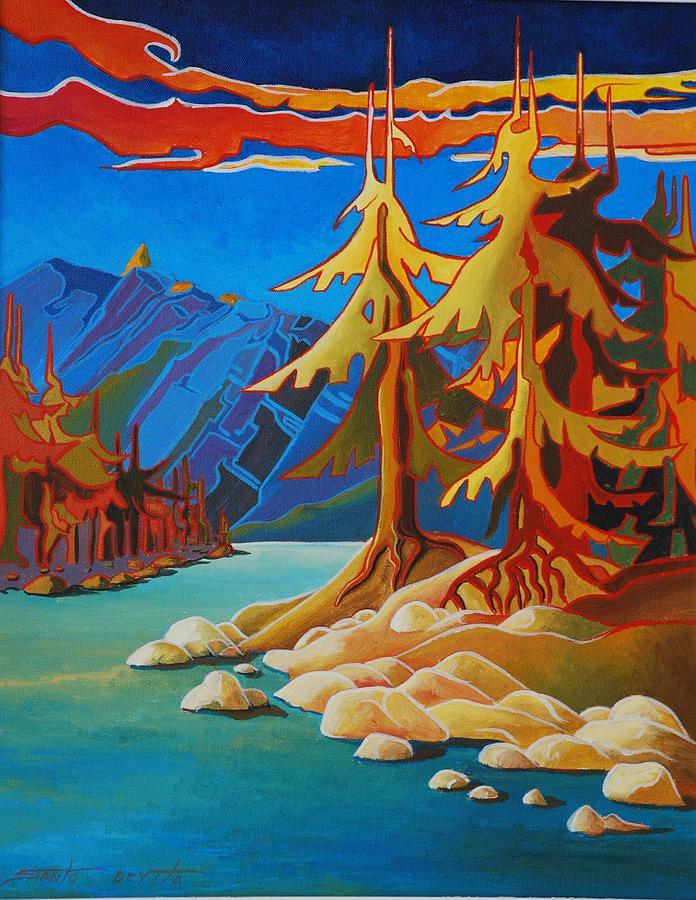 Trees Painting - Mountain Stream by Santo De Vita