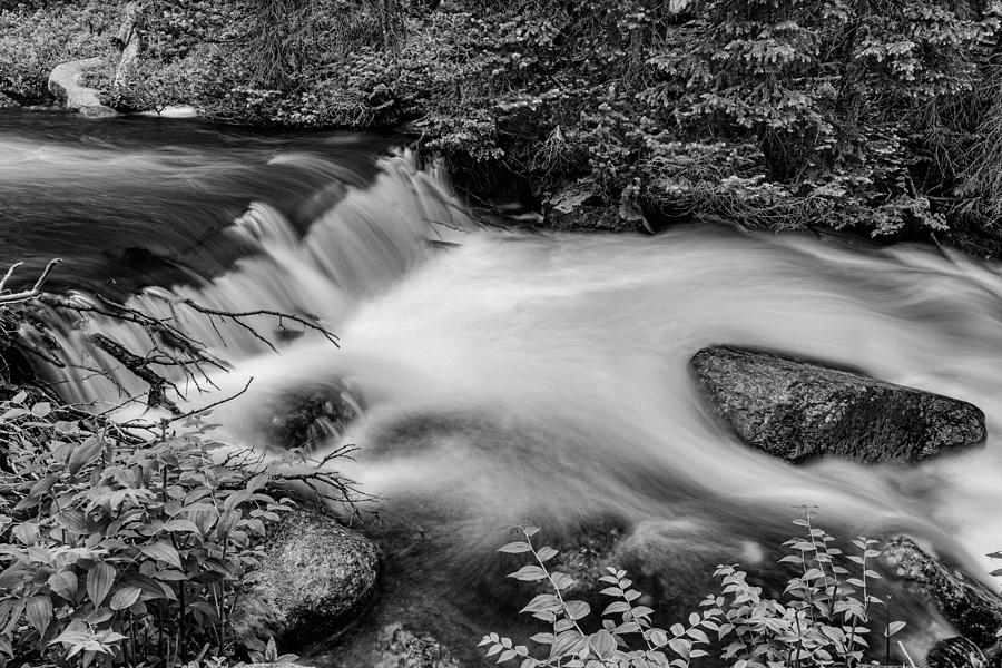 Mountain Stream Waterfall In Black And White Photograph