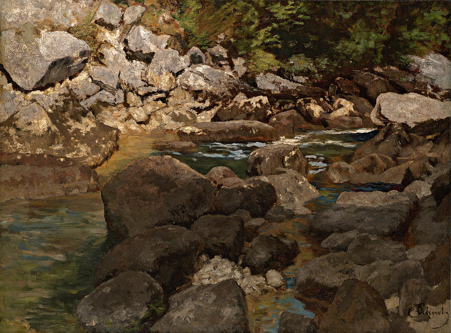 Painting Painting - Mountain Stream With Boulders by Mountain Dreams