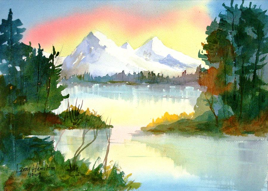 Watercolor Painting - Mountain Sunset by Larry Hamilton