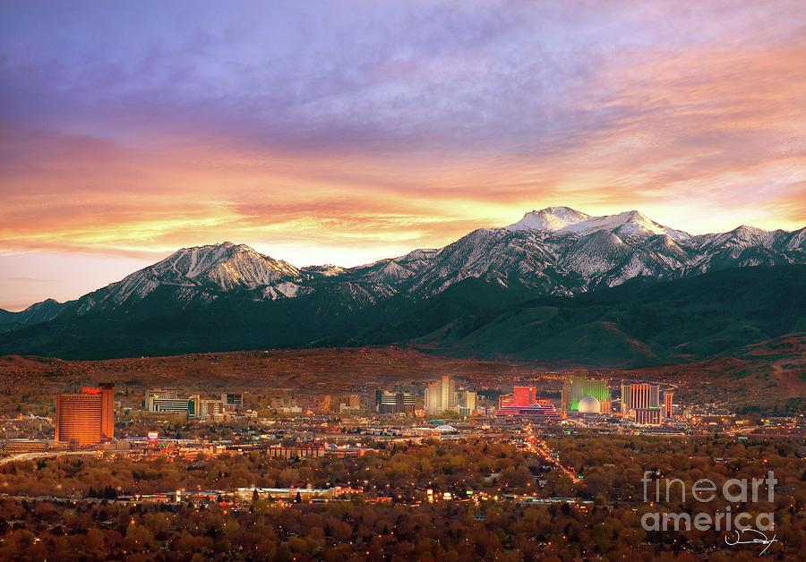 Achievement Photograph - Mountain Twilight Of Reno Nevada by Vance Fox
