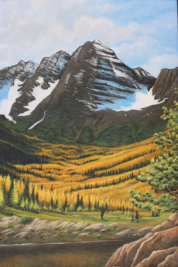 Mountains Painting - Mountain Valley by Diana Miller
