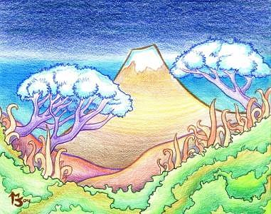 Japanese Drawing - Mountain Valley by Matt Jameson