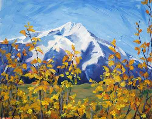 Mountain View Painting by Betty Cummings