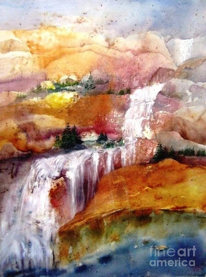 Landscapes Painting - Mountain Waterfall by Maryann Schigur