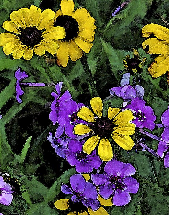 Wildflowers Digital Art - Mountain Wildflowers by Debra Wilkinson