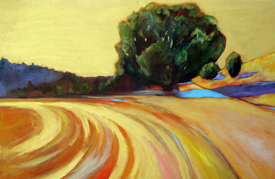Gold Painting - Mountain Winery Gold by Claire Whitehead